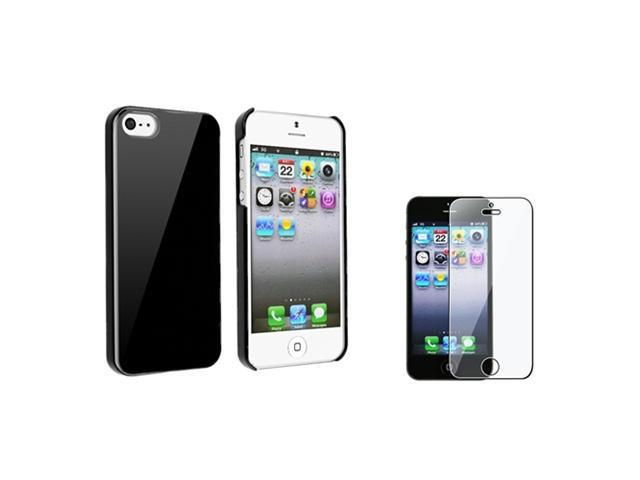 Insten Black Ice Cream Ultra Thin Hard Cover Case + Clear Screen Protector For iPhone 5 / 5s 907320