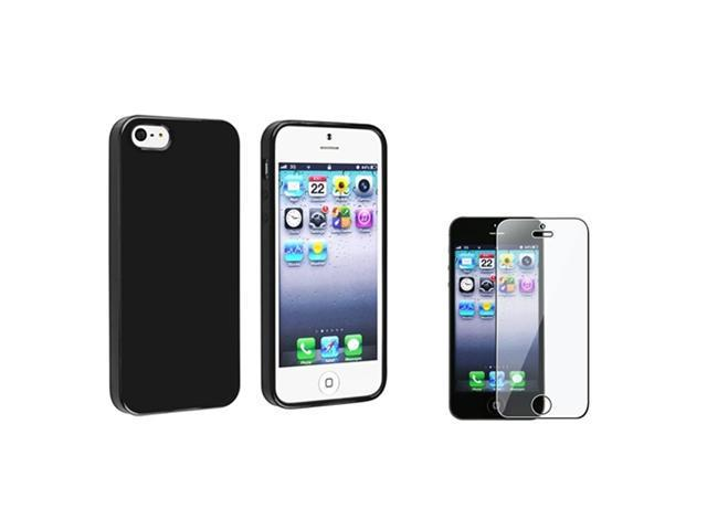 Insten Black Jelly TPU Cover Case + Screen Film For iPhone 5 / 5s 907624