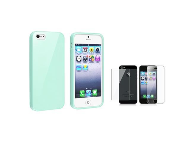 Insten Mint Green Jelly TPU Cover Case Skin + 2pcs Clear Guard For iPhone 5 / 5s 907627