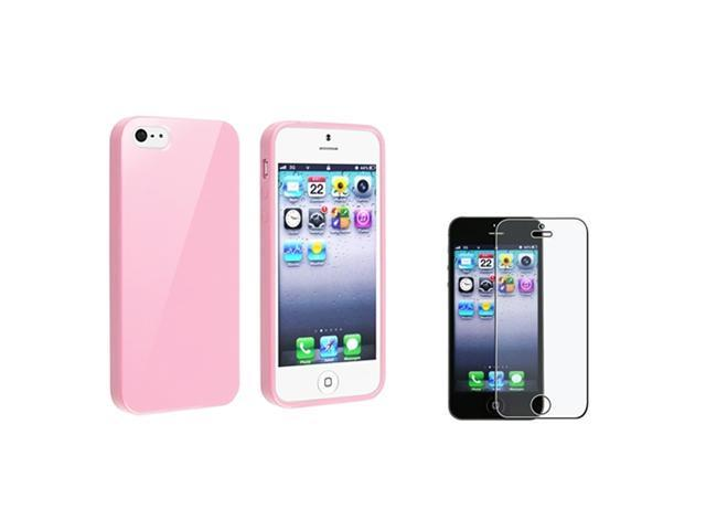 Insten Light Pink Jelly TPU Case Skin + Anti-Glare Screen Protector For iPhone 5 / 5s 907625