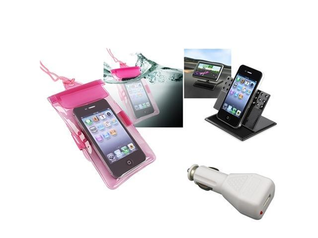 Insten Pink Waterproof Bag Case + Car Charger + Dashboard Mount For iPhone 5 / 5s / 5c / 4 / 4s 906697