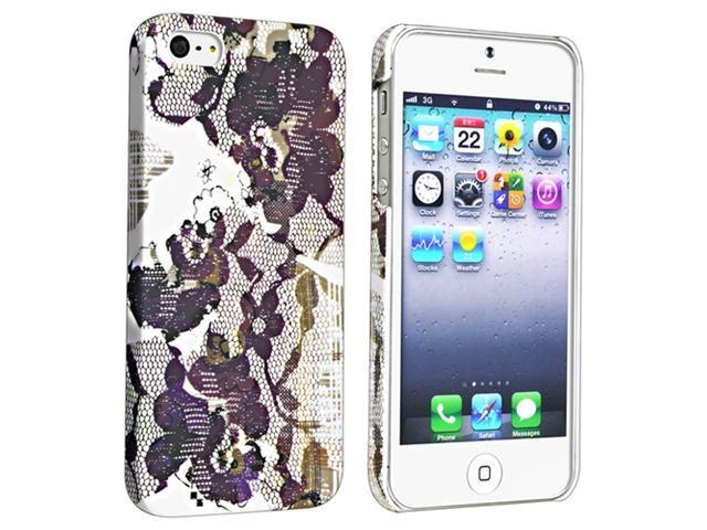 Insten Flower Rear Style 46 Snap-on Rubber Coated Case Cover + Mirror Screen Protector for Apple iPhone 5