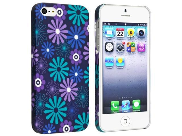 Insten Flower Rear Style 31 Snap-on Rubber Coated Case Cover + 2 LCD Kit (Front & Back) Anti-Glare Screen Cover for Apple iPhone 5