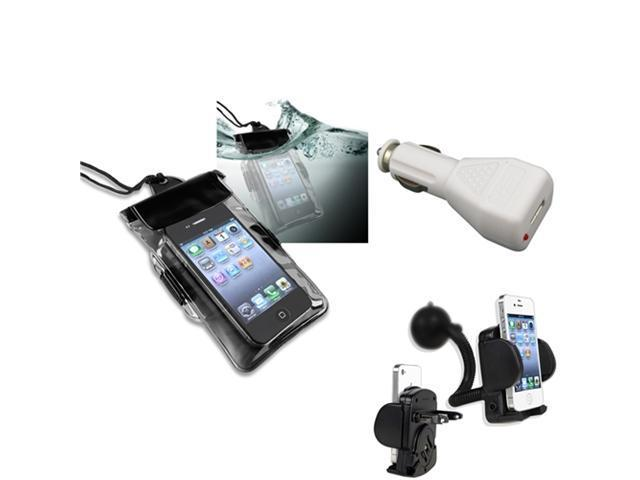 Insten Black Waterproof Bag Case + Car Holder Mount + Charger For iPhone 5 / 5s / 5c / 4s / 3GS / iPod Touch 906690