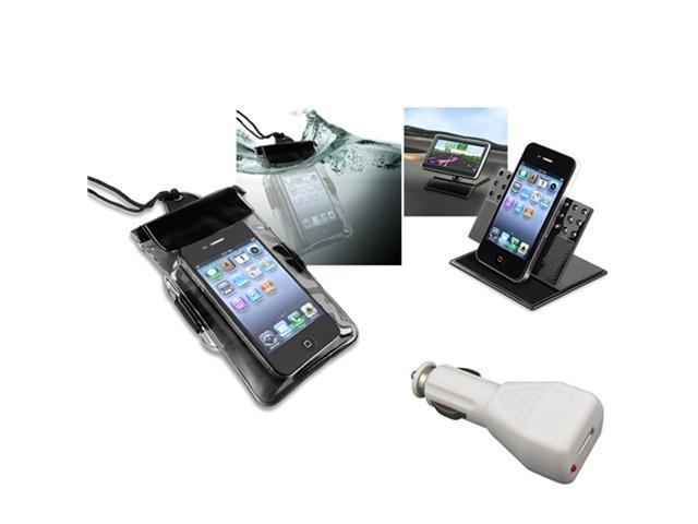 Insten Black Waterproof Bag Case + Charger + Car Holder For Apple iPhone 5 / 5s / 5c / 4s / 3GS / iPod Touch 906692