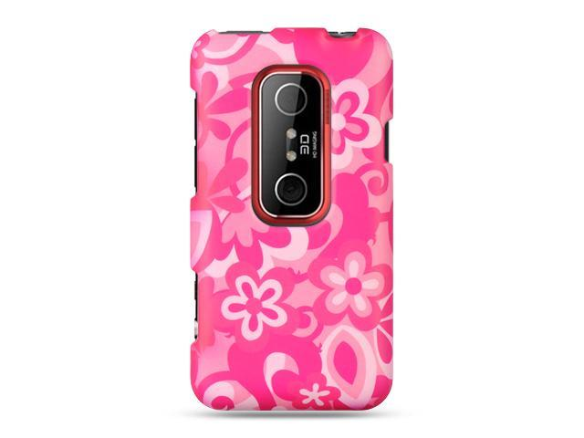 HTC EVO 3D Hot Pink Combo Flower Design Crystal Rubberized Case