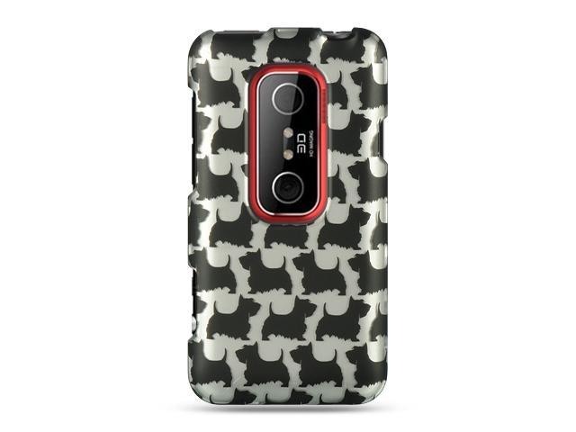 HTC EVO 3D Silver with Black Schnauzer Design Crystal Rubberized Case