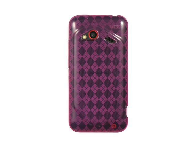 HTC Droid Incredible 4G LTE Hot Pink Checker Design Crystal Skin