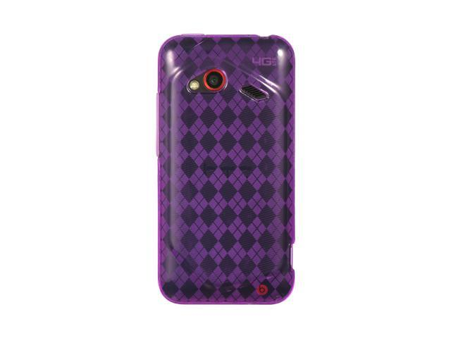 HTC Droid Incredible 4G LTE Purple Checker Design Crystal Skin