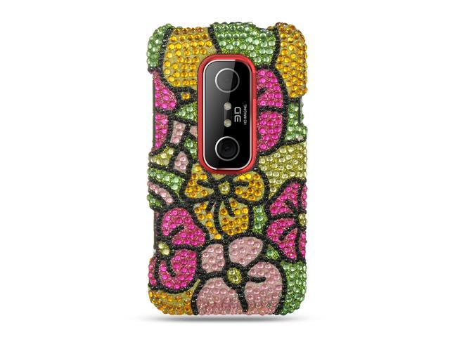HTC EVO 3D Green with Hot Pink Hawaiian Flower Design Full Diamond Case