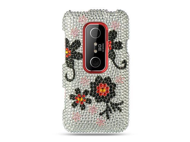HTC EVO 3D Silver with Black Daisy Design Full Diamond Case