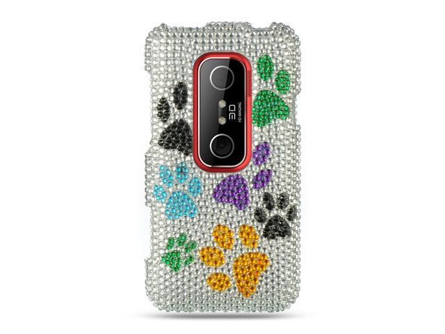 HTC EVO 3D Silver Multi Dog Paws Design Full Diamond Case