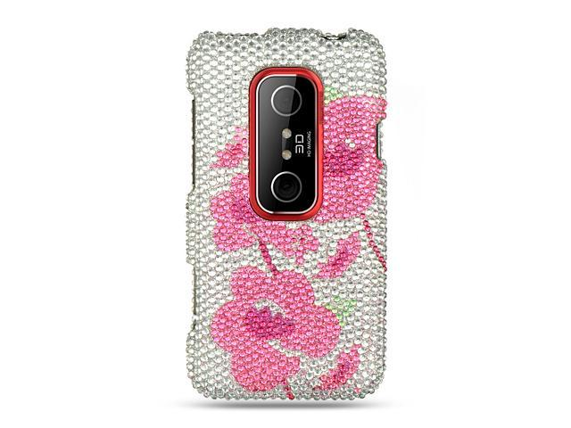 HTC EVO 3D Silver with Pink Begonia Design Full Diamond Case