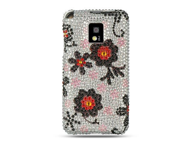 LG G2x/LG Optimus 2x Silver with Black Daisy Design Full Diamond Case