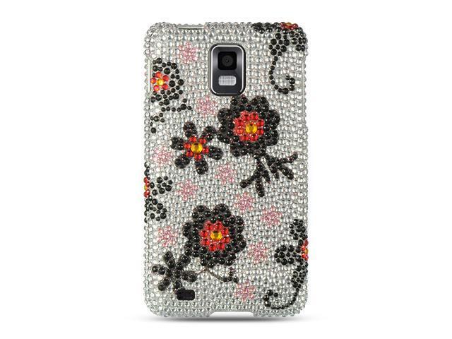 Samsung Infuse 4G I997 Silver with Black Daisy Design Full Diamond Case