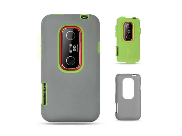 Luxmo Green Green Skin with Dar Gray Rubber Case & Covers HTC EVO 3D