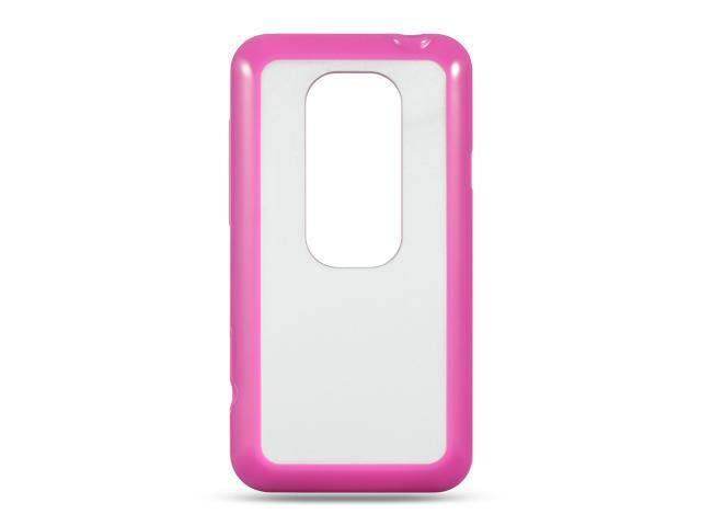 Luxmo Hot Pink Hot Pink Trim with Clear Hard Back Case & Covers HTC EVO 3D