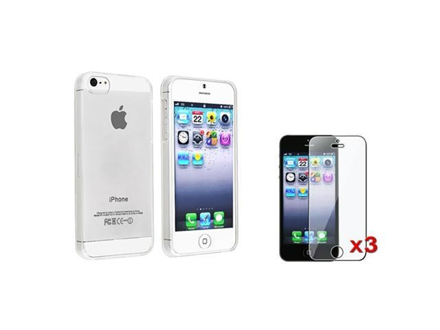 Insten Thin Clear Crystal Clip-on Hard Case + 3X Clear Screen Protector For iPhone 5 / 5s 907324