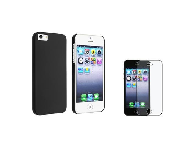 Insten Black Thin Hard Matte Case Clip On + Anti Glare Matte Shield For iPhone 5 / 5s 907341