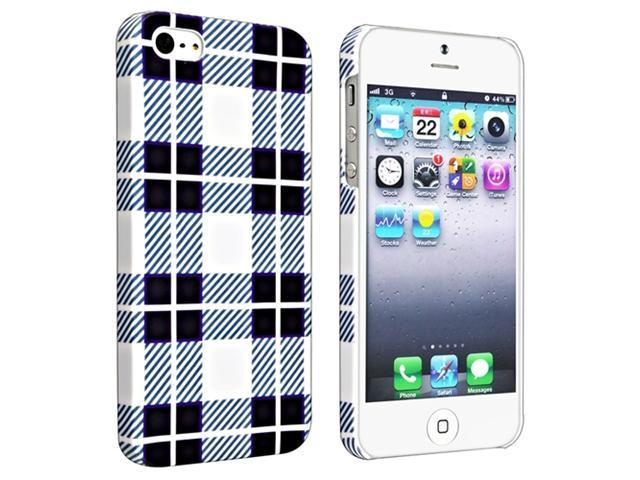 Insten Checker Style 2 Clip-on Rubber Coated Case Cover + Anti-Glare LCD Cover Compatible With Apple iPhone 5 / 5s 929530