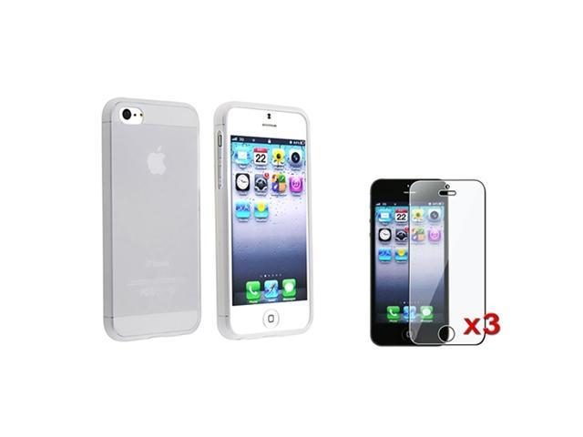 Insten White Clear Ultra Thin Rubber Gel Case + 3X Clear Screen Protector For iPhone 5 / 5s 907325