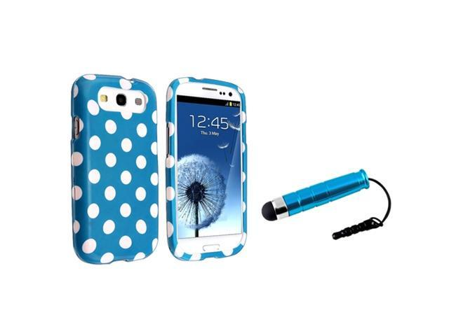 Insten Light Blue / White Polka Dots Snap on Case + Stylus Pen Compatible With Samsung Galaxy SIII / S3