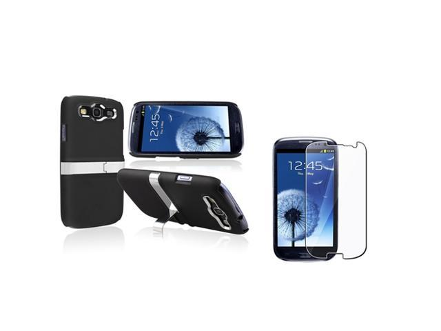 Insten Black/ Silver Snap-on Rubber Coated Case with Stand + Reusable Screen Protector compatible with Samsung Galaxy SIII / S3