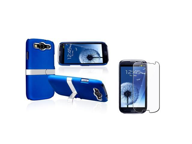 Insten Blue/ Silver Snap-on Rubber Coated Case with Stand + Reusable Screen Protector compatible with Samsung Galaxy SIII / S3