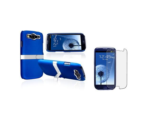 Insten Blue/ Silver Snap-on Rubber Coated Case with Stand + Anti-glare Screen Protector compatible with Samsung Galaxy SIII / S3