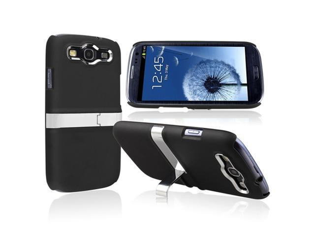 Insten 2 pack of Snap-on Rubber Coated Case with Stand(Blue/ Silver, Black/ Silver) compatible with Samsung Galaxy SIII / S3