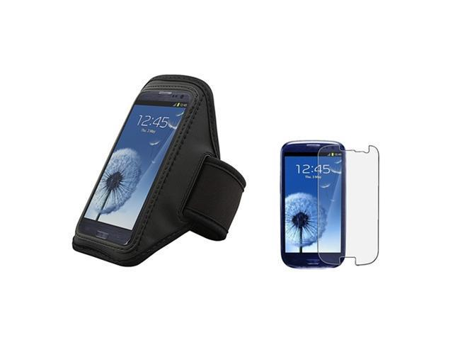Insten black Armband Case + Anti-Glare LCD Cover compatible with Samsung Galaxy SIII / S3