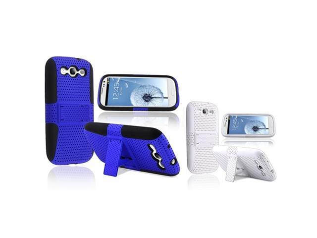 Insten 2 packs Meshed Hybrid Cases - black/blue , white/white compatible with Samsung Galaxy SIII / S3