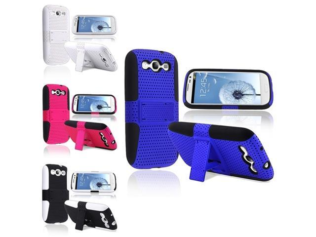 Insten 4 packs Meshed Hybrid Cases : black/blue , white/white , black/hot pink , white/black compatible with Samsung Galaxy SIII / S3