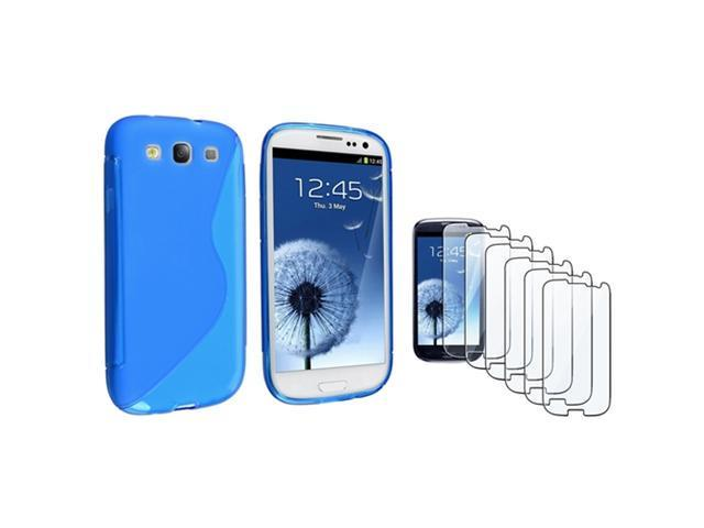 Insten Clear Blue S Shape TPU Rubber Case + 6-piece Screen Protector compatible with Samsung Galaxy SIII / S3