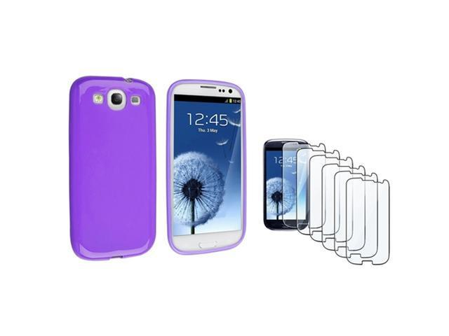 Insten Purple jelly TPU Rubber Case + 6-piece Screen Protector compatible with Samsung Galaxy SIII / S3