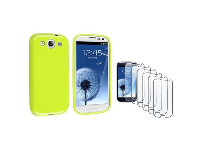 Insten Light Green jelly TPU Rubber Case + 6-piece Screen Protector compatible with Samsung Galaxy SIII / S3