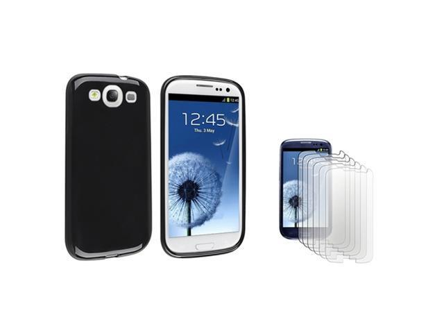Insten Black jelly TPU Rubber Case + 6-piece Anti-Glare Screen Protector compatible with Samsung Galaxy SIII / S3