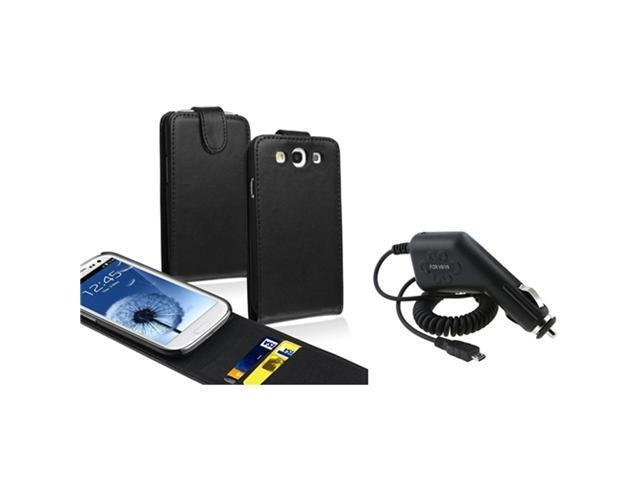 Insten Black Card Holder Leather Flip Case + Car Charger Compatible With Samsung Galaxy SIII / S3