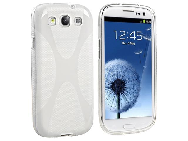 Insten White X Shape TPU Rubber Skin Case Cover + Silver Stylus Pen Compatible with Samsung Galaxy SIII / S3