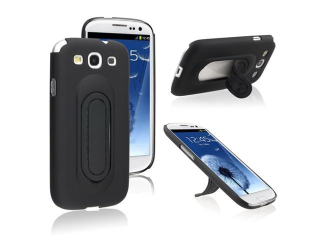 Insten Black Kickstand Snap-on Case Cover + LCD Cover + Stylus Pen Compatible with Samsung Galaxy SIII / S3
