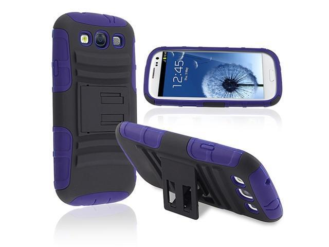 Insten Hybrid Blue Black Stand Silicone / Hard plastic Case Cover + Front & Back Reusable LCD Cover compatible with Samsung  Galaxy SIII / S3
