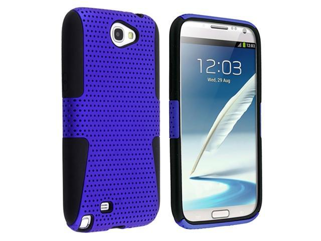 Insten Hybrid Black Blue Meshed Silicone / Hard plastic Case Cover + Reusable Screen Protector compatible with Samsung  Galaxy Note II N7100
