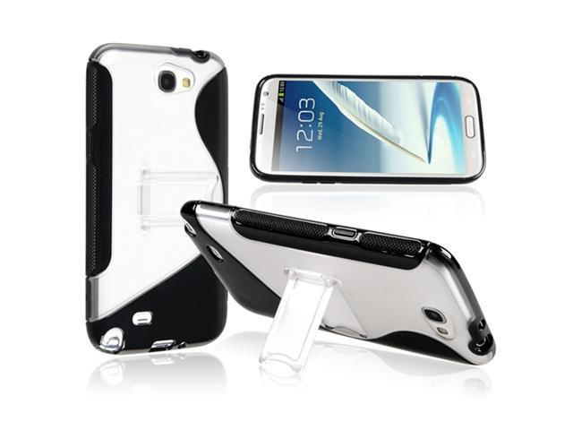 Insten Black Clear S Shape Stand TPU Rubber Case Cover + Reusable Screen Protector compatible with Samsung  Galaxy Note II N7100