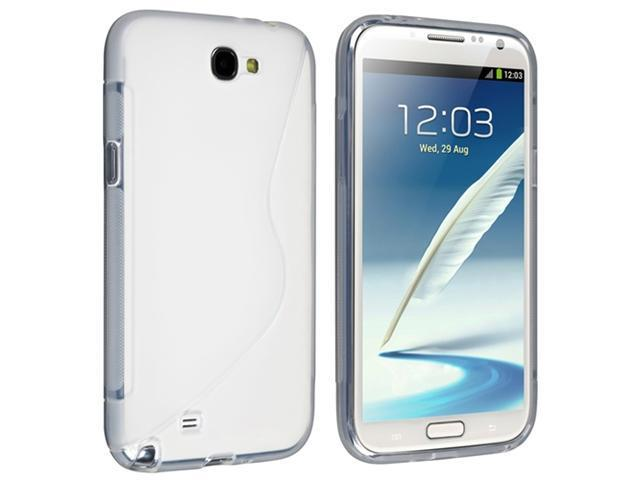 Insten Clear S Shape TPU Rubber Case Cover + Reusable Screen Protector compatible with Samsung  Galaxy Note II N7100