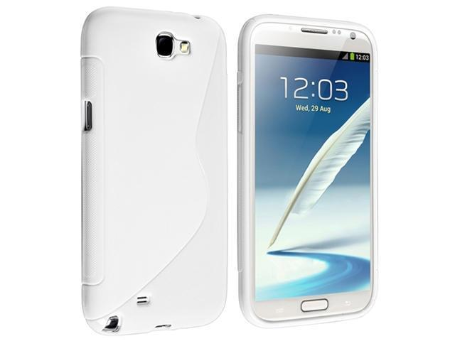Insten White S Shape TPU Rubber Case Cover + Reusable Screen Protector compatible with Samsung  Galaxy Note II N7100