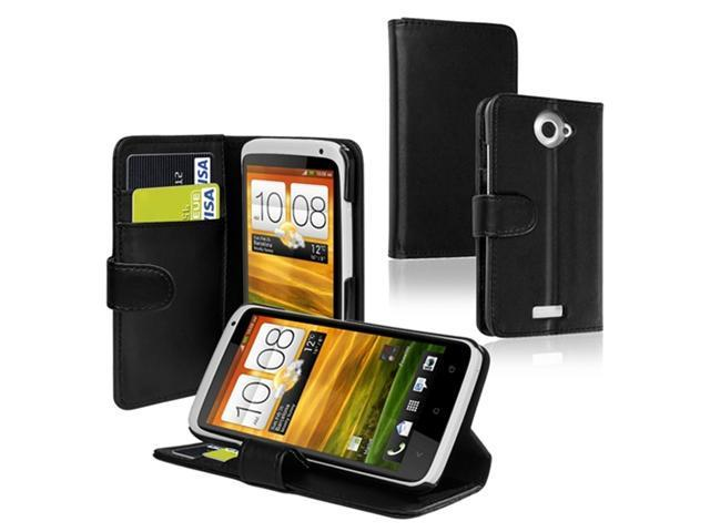 Insten Black Credit Card Wallet Leather Case + Reusable Screen Protector Compatible With HTC One X