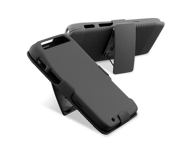 Insten Black Holster Stand Rubber Coated Case Cover + Reusable Screen Protector compatible with Motorola Atrix 3 HD MB886