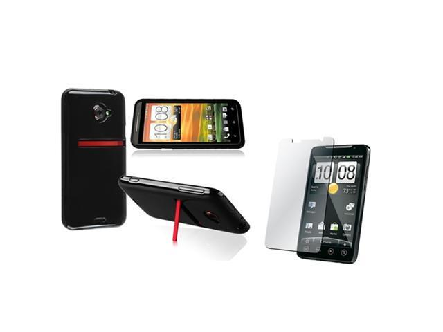 Insten Black Jelly TPU Rubber Skin Case + Reusable Screen Protector Compatible with HTC EVO 4G LTE
