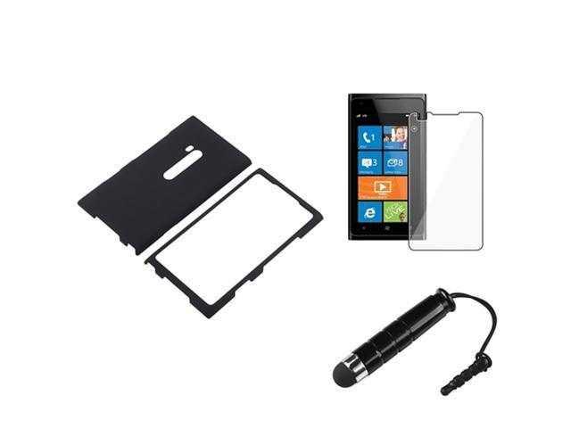 Insten Black Rubber Coated Case + Clear Reusable Screen Protector + Stylus Pen for Nokia Lumia 900