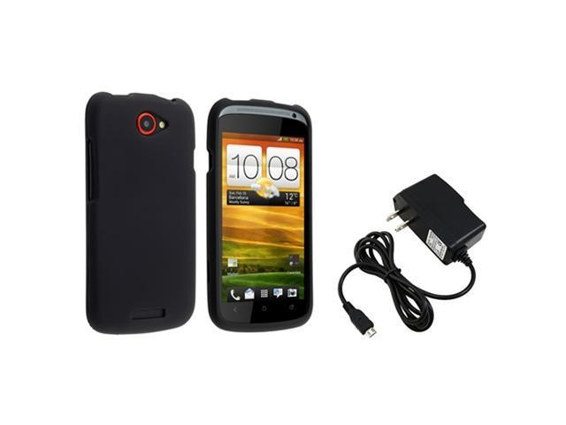 Insten Black Rubber Coated Case with 1 Travel/Wall Charger for HTC One S / Ville